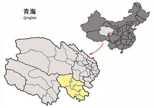 图中高亮显示的是མགོ་ལོག་བོད་རིགས་རང་སྐྱོང་ཁུལ། 果洛藏族自治州