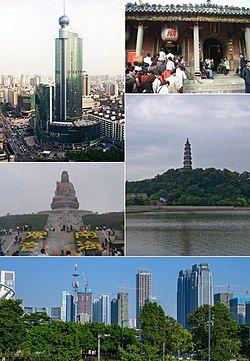 Clockwise from top right: Zumiao of Foshan, Qingyun Tower in Shunfengshan Park, Foshan New Town in Shunde, Guanyin atop Mount Xiqiao, & Downtown Foshan in Chancheng