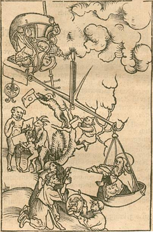 A giant scale holds the pope with a certificate bearing the papal seal and another man on one side being outweighed on the other side by a bearded figure handing another certificate to kneeling figures. Animal figures are receiving the pope's certificates.
