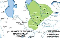 1700年的布哈拉汗国(绿色)