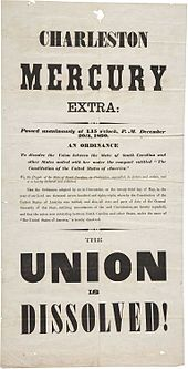 """Newspaper in extra large text, noting """"Union is Dissolved"""""""