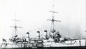 吾妻号装甲巡洋舰,摄于1905年朴茨茅斯