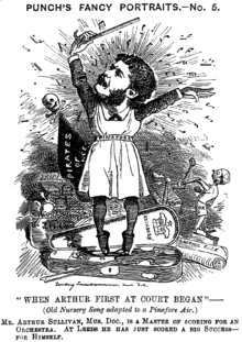 """Mocking newspaper cartoon showing Sullivan wearing a """"pinafore"""" apron, standing en pointe in a violin case while conducting, surrounded by corrupted paraphernalia relating to his early comic operas, over the sardonic song title """"When Arthur First at Court Began"""""""