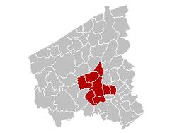 鲁塞拉雷区在西佛兰德省的位置