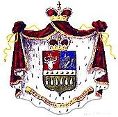 Shield, cape, two crowns and a motto