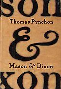 """Book cover illustration zoomed in on the ampersand between the words """"Mason & Dixon"""" written in ink on parchment"""