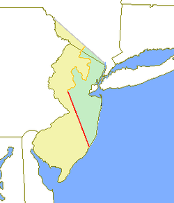 原初东西泽西省份分别以黄色和绿色显示。基思线(英语:Keith Line)以红色显示,考克思-巴克莱线(英语:Coxe–Barclay Line)以橙色显示。