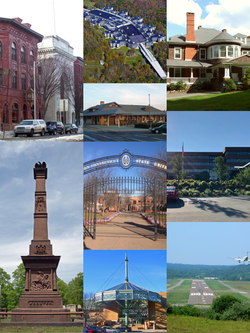 Clockwise, from top left: Main Street Historic District, The Summit at Danbury, Tarrywile Mansion, Praxair Headquarters, Danbury Municipal Airport, Danbury Fair Mall, David Wooster Monument, Western Connecticut State University, and the Danbury Railway Museum