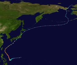 超强台风杰拉华的路径图
