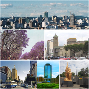 Clockwise, from top: Harare skyline; Parliament of Zimbabwe (front) and the Anglican Cathedral (behind); Heroes Acre monument; New Reserve Bank Tower; downtown Harare; Jacaranda trees lining Josiah Chinamano Avenue
