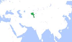 1850年的浩罕疆土(绿色)