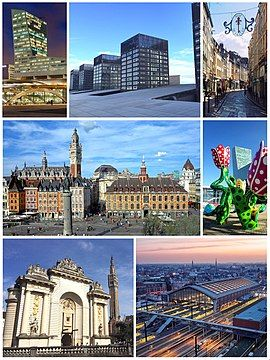 From top to bottom, left to right: the Lille Tower, some towers of Euralille, the Rue de la Clef in Old Lille, the Place du Général-de-Gaulle, the Shangri-La tulip sculpture for Lille 2004, the Porte de Paris with the belfry of the City Hall and Lille-Flandres train station