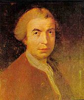 Yellowish painting of man with short hair in 18th-century dress, looking above the artist