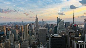 New York, described as the cultural,[1][2][3][4] financial,[5][6][7] diplomatic, and media capital[8][9] of the world.[10][11] Manhattan (above), functions as the financial and cultural core of the entire New York metropolitan area.