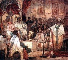 A wall painting of the Council of Chalcedon showing Marcian and Pulcheria seated on thrones.