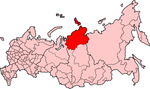 Map showing Taymyria in Russia