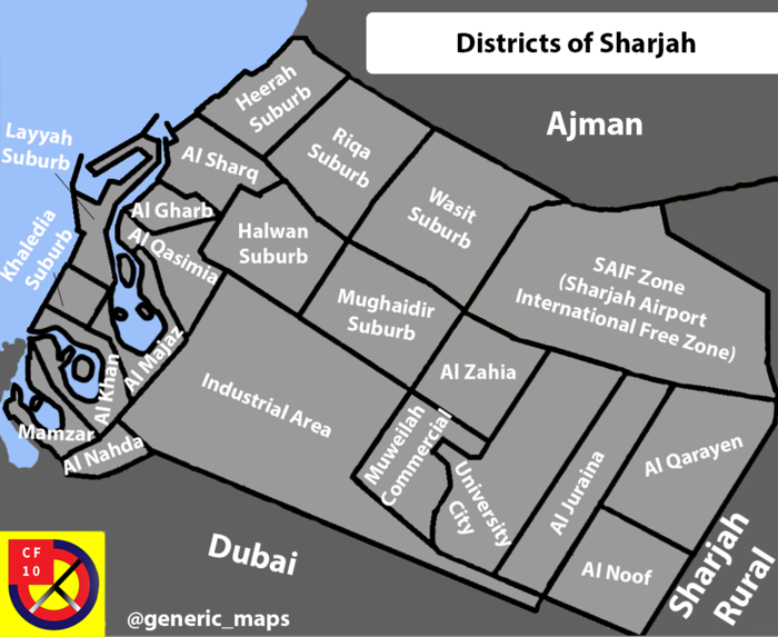 Map of Sharjah districts