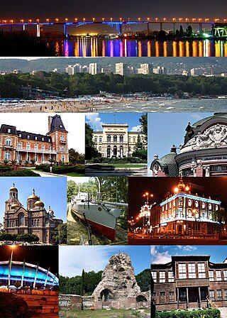 """自左上起阿斯帕鲁霍夫桥、黑海海滩、奥辛诺格拉德、瓦尔纳考古学博物馆、斯托扬·巴契瓦洛夫戏剧剧场(英语:Stoyan Bachvarov Dramatic Theatre)、圣母安息主教座堂、""""德拉兹基号鱼雷艇(英语:Bulgarian torpedo boat Drazki)""""、海军俱乐部、体育文化宫、古罗马浴场、瓦尔纳民族博物馆"""