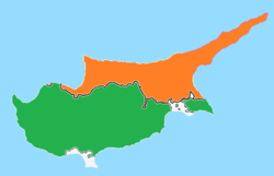 Map indicating locations of Cyprus and Northern Cyprus