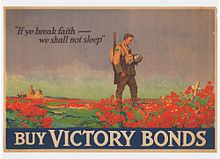 """Painting of a soldier staring down at a white cross surrounded by red poppies. The text """"If ye break faith ~ we shall not sleep"""" and """"Buy Victory Bonds"""" are written at the top and bottom respectively."""