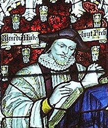 Hakluyt depicted in stained glass in the west window of the south transept of Bristol Cathedral– Charles Eamer Kempe, c. 1905.