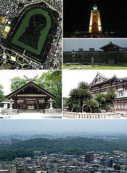 From top left: Daisen Kofun, Old Sakai Lighthouse, Ruins of Rikyu's house, Ōtori taisha, Myōkoku-ji, Skyline with Daisen kofun in the center