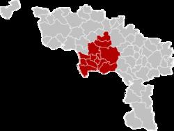 Location of the arrondissement in Hainaut