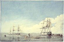 The Hudson's Bay Company ships Prince of Wales and Eddystone with Inuit boats off the Upper Savage Islands, Hudson Strait, Canada