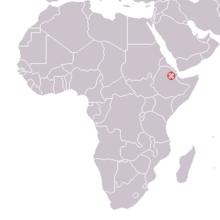 Hadar, Ethiopia ; Australopithecus afarensis 1974 discovery map.png