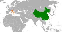 China和Italy在世界的位置
