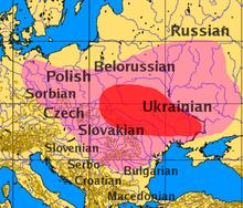 Map of Slavic language origins