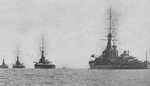 Four battleships at sea