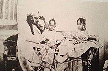Photograph showing Qadr with is father Wajid Ali Shah and his mother Begum Hazrat Mahal