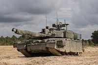 Large, camouflaged tank