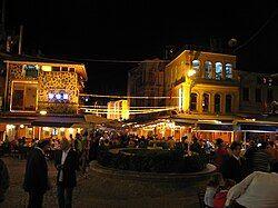 Seafood restaurants in Kumkapı at night