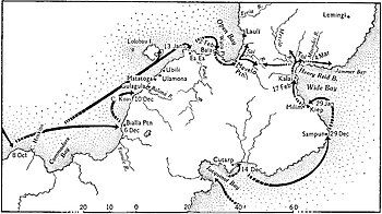 Black and white map of central New Britain marked with many locations mentioned in the article, and arrows showing the main movements of Australian forces