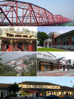 Top:Xiluo Bridge and Choushui River, Second left:Chaotian Temple in Peigang, Second right:Shinqi Memorial Museum, Third left:Caolin in Tongluo, Third right:Erlun Memorial Museum, Bottom:Dounan Railroad Station