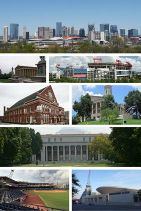由上至下,左至右:纳什维尔天际线、帕德嫩神庙、日产体育场、赖曼礼堂、田纳西州议会大厦、范德堡大学威特中心、第一田纳西公园(英语:First Tennessee Park)、桥石体育场(英语:Bridgestone Arena)