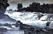 Lithograph depicting the Spokane falls in 1888