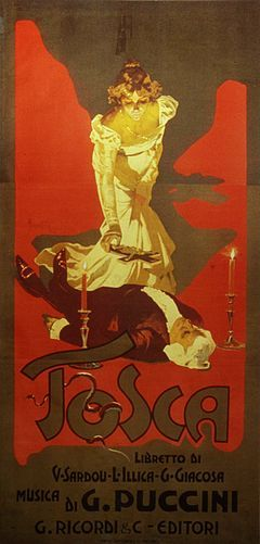 """Stylised drawing showing Tosca standing over Scarpia's body, about to lay a crucifix on his chest. The text reads: """"Tosca: libretto di V Sardou, L Illica, G Giacosa. Musica di G Puccini. Riccardi & C. editori"""""""