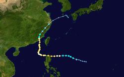 台风丹尼的路径图