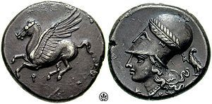 Silver tridrachm from Corinth, c. 345–307 BC of Corinth