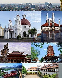 From top, left to right: Semarang city skyline, Semarang's Blenduk Church is the oldest Church in Central Java, The Great Mosque of Central Java, Gedung Batu Temple (the oldest Chinese temple), Pagoda Avalokitesvara, Rawa Pening (Pening swamp) water tourism, and iconic building of Lawang Sewu.