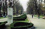 Bâcau, Romania. Monumentul Mircea Cancicov, March 2001.jpg