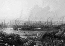 Engraving of a view of Manchester from a distance, showing factories, smokestacks, and smoke.