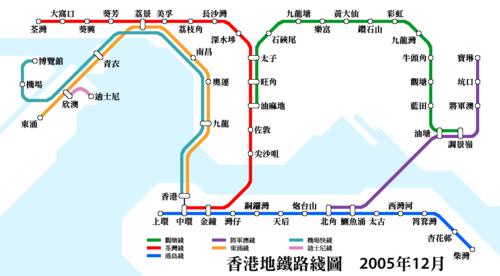 2005年香港的地铁路线图