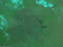 File:NOAA Satellites - Fires in the -AmazonRainforest are continuing to burn. Here, -GOESEast zoomed in on burn scars in Bolivia, Brazil, and Paraguay via Day Land Cloud Fire RGB on August 22, 2019. More imagery-.webm