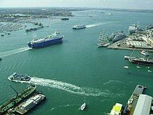 A view of various ferries, cargo and military vessels moving out of Portsmouth Harbour. This photograph was taken from the viewing deck of the Spinnaker Tower.