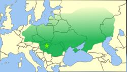阿提拉统治下的匈人帝国鼎盛时期疆域图