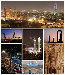 Amman city, from right to left and from above to below: Abdali Project dominating Amman's skyline, Temple of Hercules on Amman Citadel, King Abdullah I Mosque and Raghadan Flagpole, Abdoun Bridge, Umayyad Palace, Ottoman Hejaz railway station and Roman Theater.